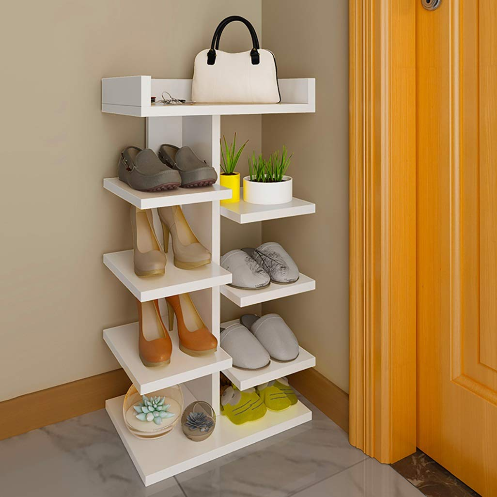 62MJ Shoe Rack Solid Wood Multi-Layer Simple Shoe Rack Ivory White (Color : Five, Size : Layer) by 62MJ