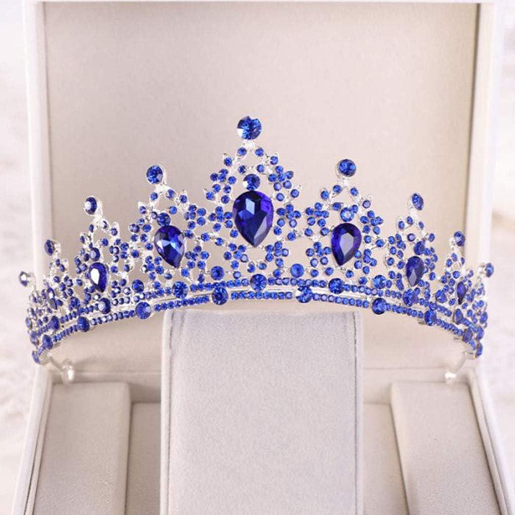 YUNGYE Couleur Argent Grand Vintage Cristal Tiaras Couronnes Strass Pageant mari/ée Accessoires Cheveux Perle de Mariage Diadem Metal Color : Gold Color