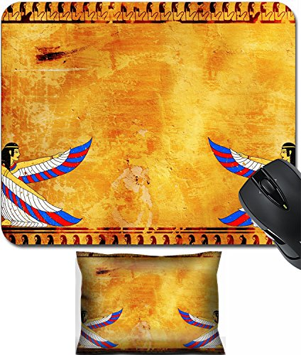 (MSD Mouse Wrist Rest and Small Mousepad Set, 2pc Wrist Support design: 12637200 Wall with Egyptian goddess image)