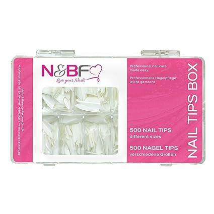 N & BF Stiletto uñas Tips Blanco caja 500 unidades para gelnägel & Esmalte de Uñas