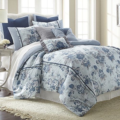 eLuxurySupply Floral Farmhouse 8-Piece Comforter Set | Down Alternative Hypoallergenic Comforters | Comforter, 2 Shams, Bed Skirt, 2 Decorative Pillows and 2 Euro Shams - Bed In A Bag Set | King free shipping