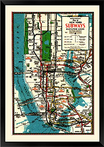 Framed New York Subway Map.1930 S New York Subway Map Vintage Style Framed Poster