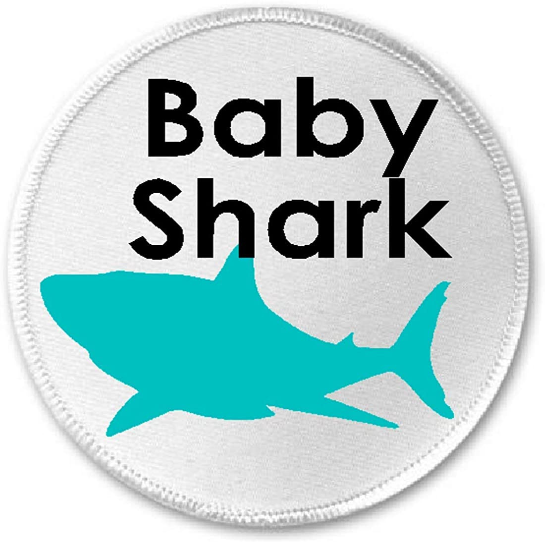 "Baby Shark - 3"" Sew/Iron On Patch Song Meme Doo Doo Doo Silhouette"