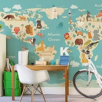 Tantoto 3D Wallpaper Von Hand Bemalt\'S Cartoon Weltkarte Tapete ...