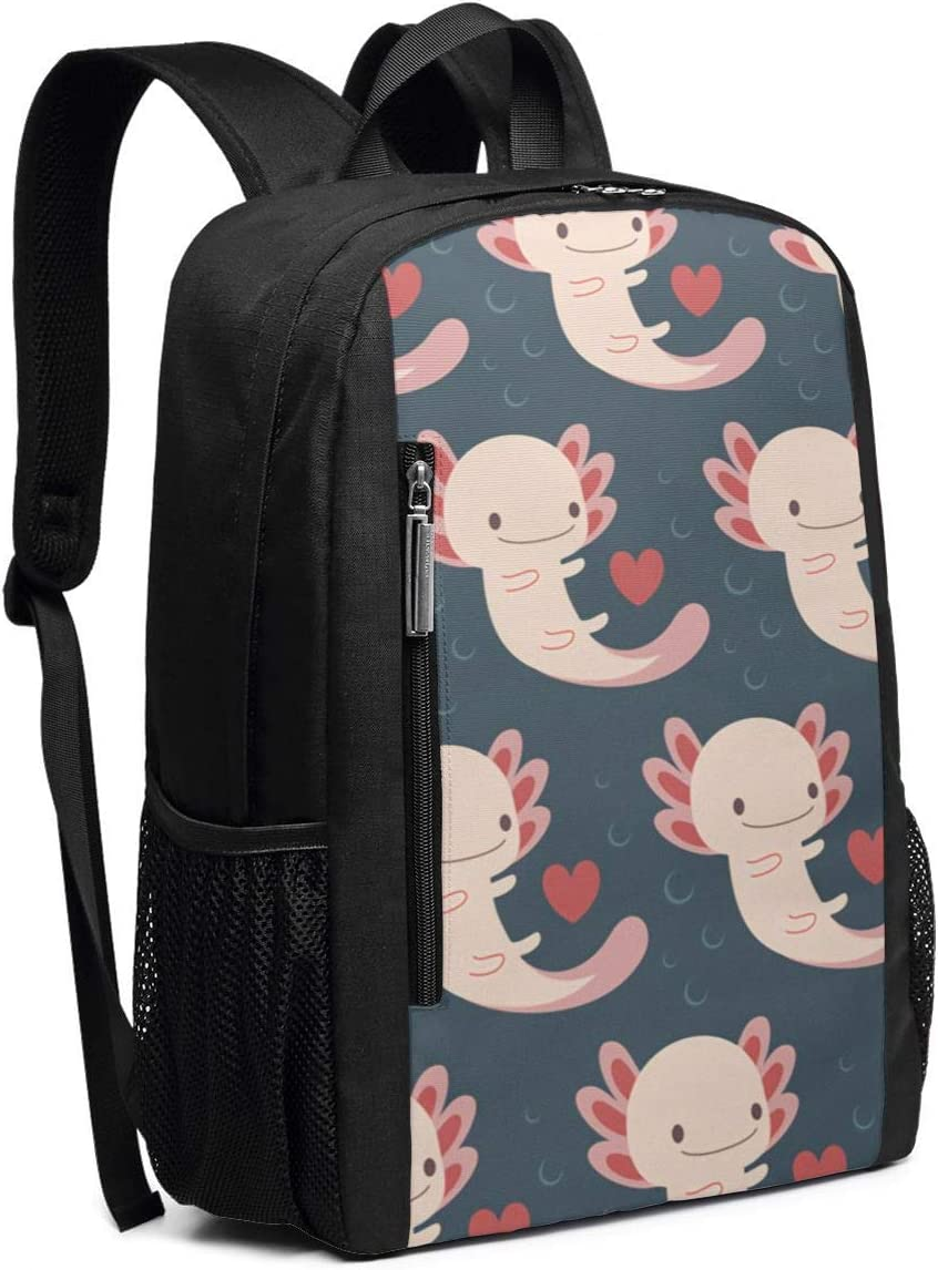 Axolotls Hearts and Bubbles Casual Backpack Business Outdoor Travel Camping Bags Notebook for Women Men