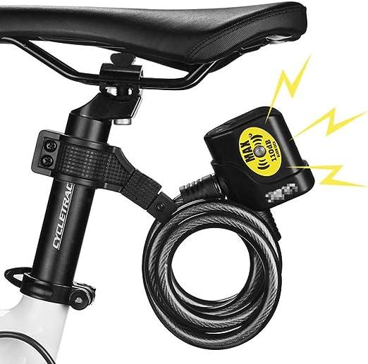 QYWSJ Cerradura Cadena Bicicleta Antirrobo Seguridad,con Alarma ...