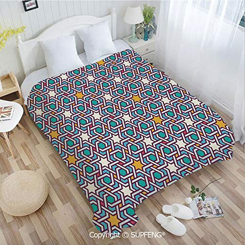 Super Soft Blankets Geometric Lines and Stars Based on Traditional Oriental Eastern Artistic World D(W59xL78.7 inch) Easy Care Machine Wash for Bedroom/Living Room/Camping etc