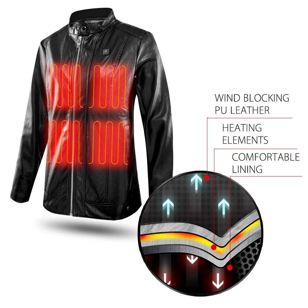 CLIMIX Slim Fit Women Heated Jacket PU Leather Jacket Kits with Battery (M) by CLIMIX (Image #4)