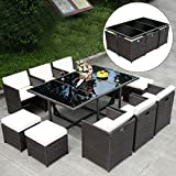 New 11 PCS Outdoor Patio Dining Set Metal Rattan Wicker Furniture Garden Cushioned