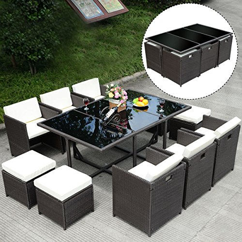 New 11 PCS Outdoor Patio Dining Set Metal Rattan Wicker Furniture Garden Cushioned (Cheapest Dining Sets Furniture)