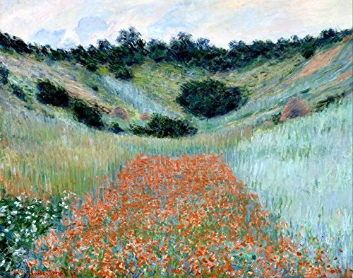 Buyartforless Poppy Field in A Hollow Near Giverny by Claude Monet 28x22 Museum Art Print Poster Flowers in a Landscape ()