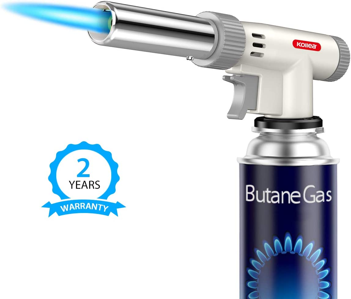 Butane Torch, Kollea Kitchen Culinary Torch - Professional Creme Brulee Cooking Torch, Blow Food Torch with Adjustable Flame for Sous Vide, Dessert, Camping, BBQ (Butane Gas Not Included)