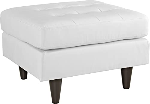 Modway Empress Mid-Century Modern Upholstered Leather Ottoman In White