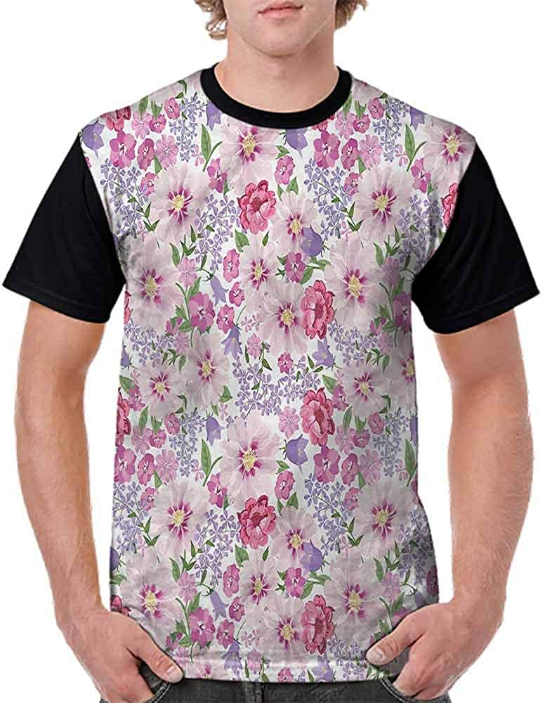 BlountDecor Round Neck T-Shirt,Lavenders Spring Freshness Fashion Personality Customization