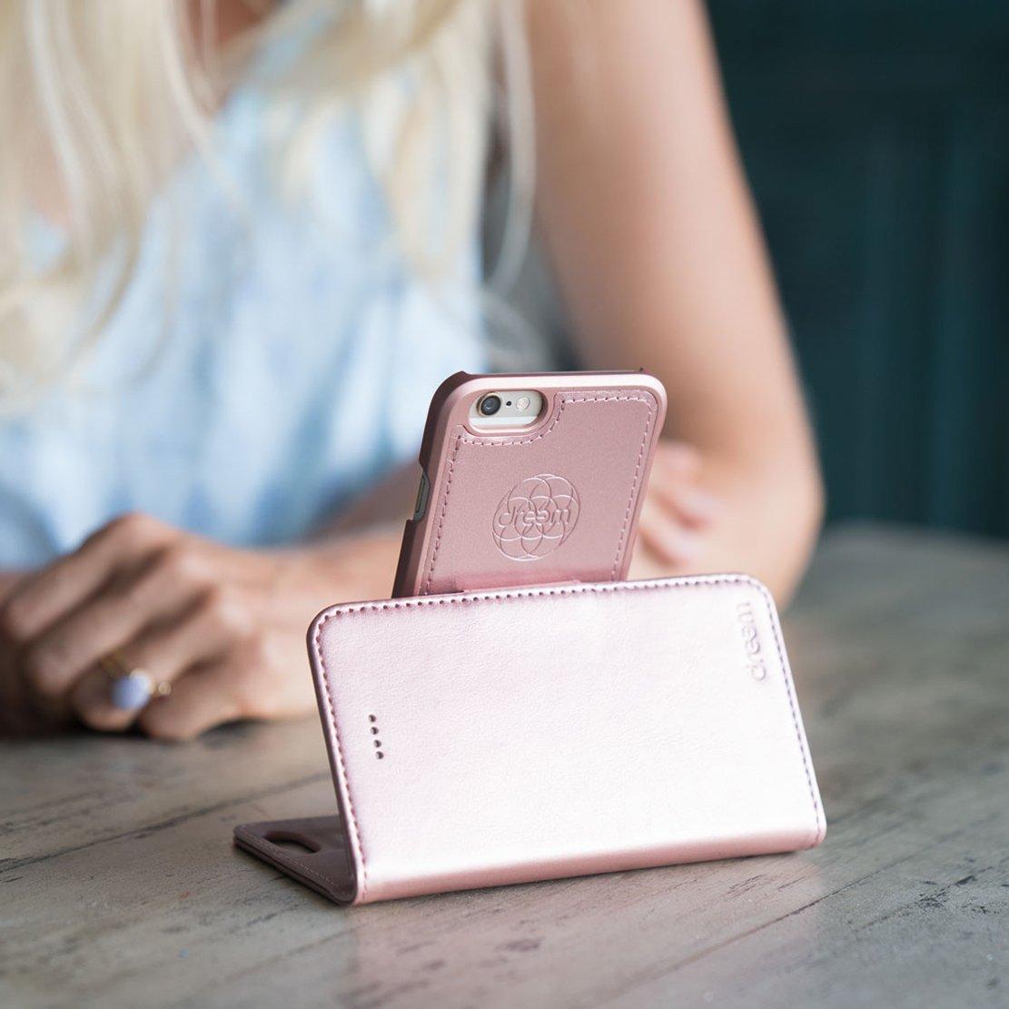 dreem iphone 7 & 8 wallet case with detachable slimcase