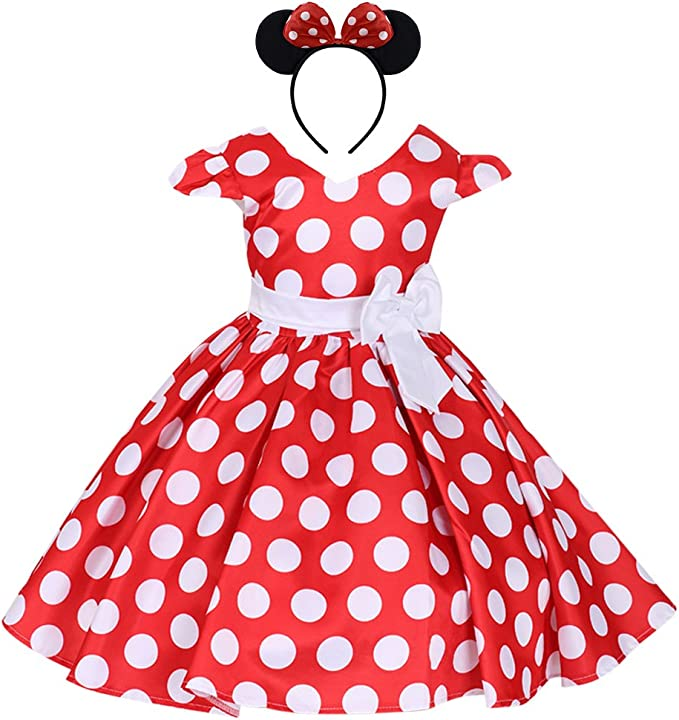 UK Girls Baby Kids Minnie Mouse Bowknot Polka Dot Cosplay Princess Party Dress