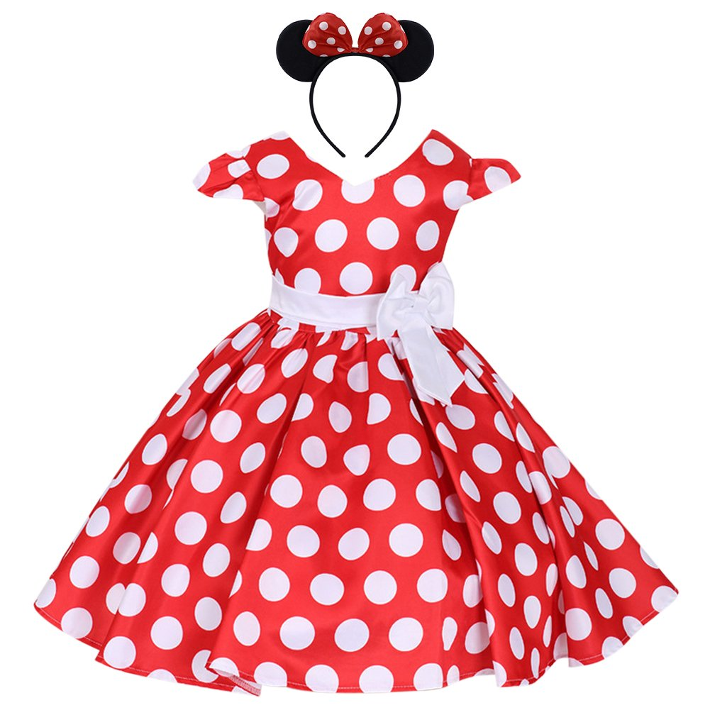 IWEMEK Girls Polka Dots Cap Sleeves Wedding Pageant Princess Skirt Bowknot Tutu Dress Mouse Ears Headband Red 4-5