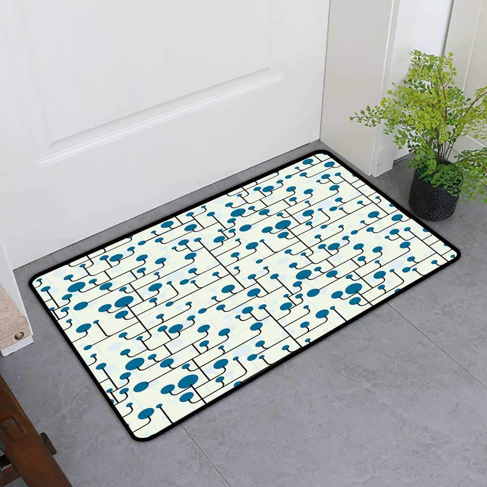 TableCovers&Home All-Natural Rubber Doormats, Geometric Decorative Imdoor Rugs for Kids Room, Abstract Lines Dots of Many Sizes Modern Pattern Ornamental Minimalistic (Blue Eggshell Black, H36 x W60)