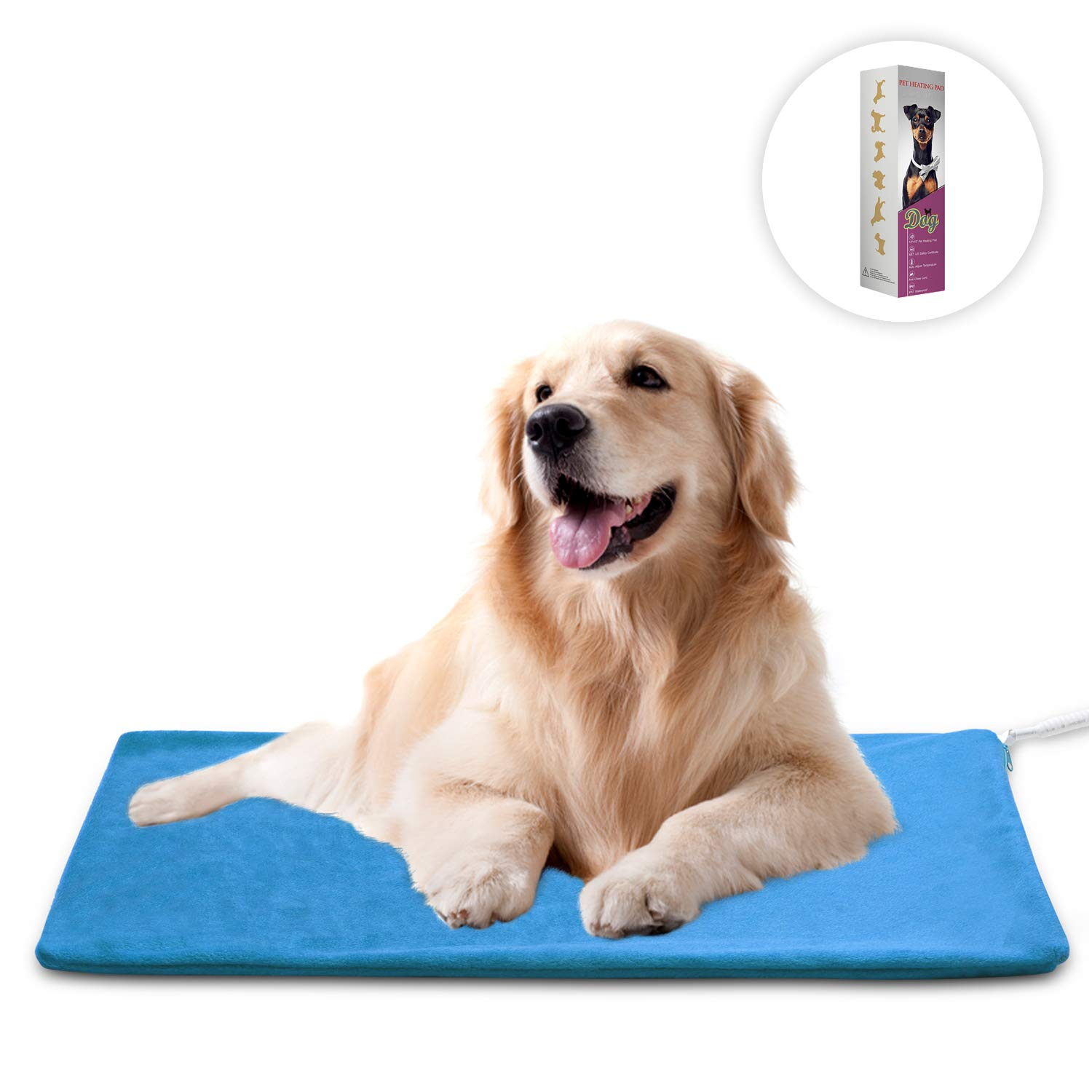 MARUNDA Pet Heating Pad Large,Dog Cat Heating pad Indoor Waterproof,Auto Constant Temperature Warming 15x24 inches Bed with Chew Resistant Steel Cord