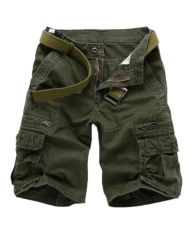 Uomo Cargo Pantaloncini Leisure Sciolto Multi-Pocket Retro Pantaloncini Sportivi Tinta Unita di Grandi Dimensioni Pantaloncini Senza Cintura