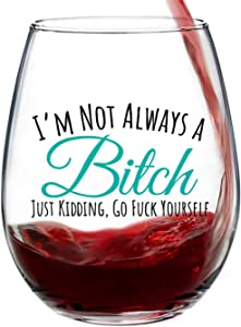 I'm Not Always Funny, Cute Wine Glass, Stemless 15oz, Gift Box, Happy Birthday Gifts for Women or Men, Unique Gift Idea for Her, Mom, Wife, Girlfriend, Sister, Grandmother, Aunt, Friend, BFF