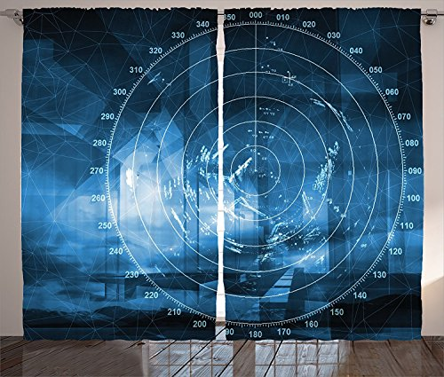 [Navy Blue Decor Curtains Modern Ship with Radar Exposure in the Screen Digital Electronic Hi Tech Futuristic Concept Living Room Bedroom Decor 2 Panel Set Blue,Size:2 x 54