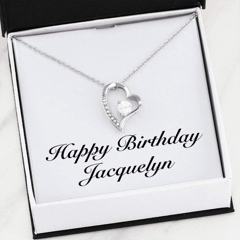 Forever Love Heart Necklace 14k White Gold Finish Personalized Name Gifts Happy Birthday Jacquelyn