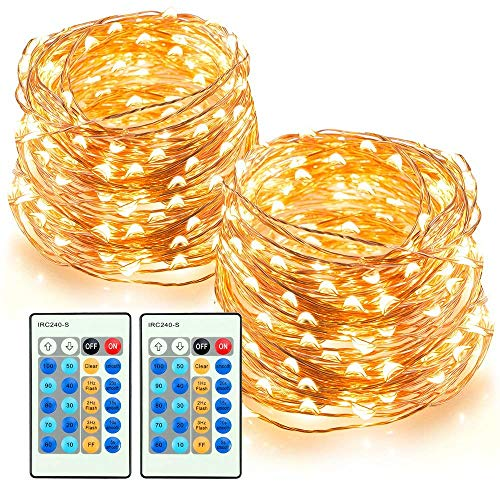 TaoTronics LED String Lights 66ft 200 LEDs Dimmable Festival Decorative Lights for Seasonal Holiday, Complete Waterproof, UL Listed(Copper Wire Lights, Warm White)-2 Pack