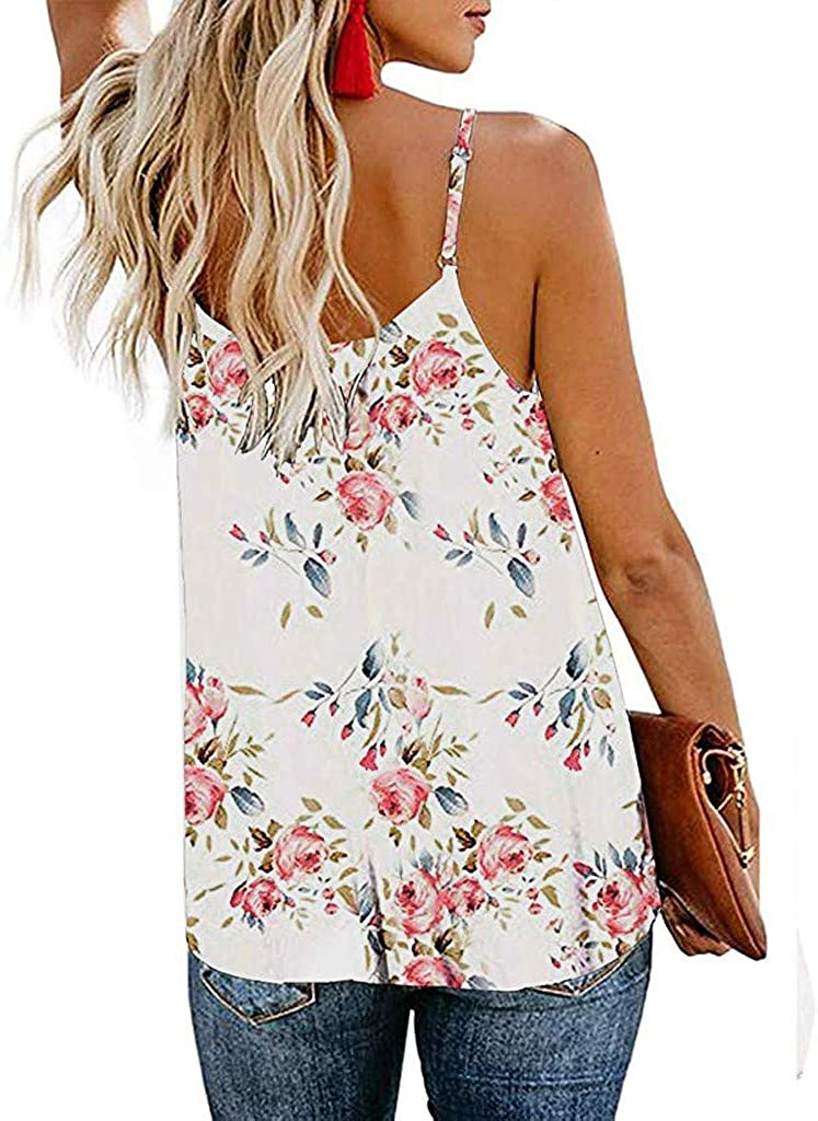 Womens Floral Strappy Summer Vest Tops Ladies Beach Party Camisole Loose Casual Sleeveless Shirts Blouse with Button