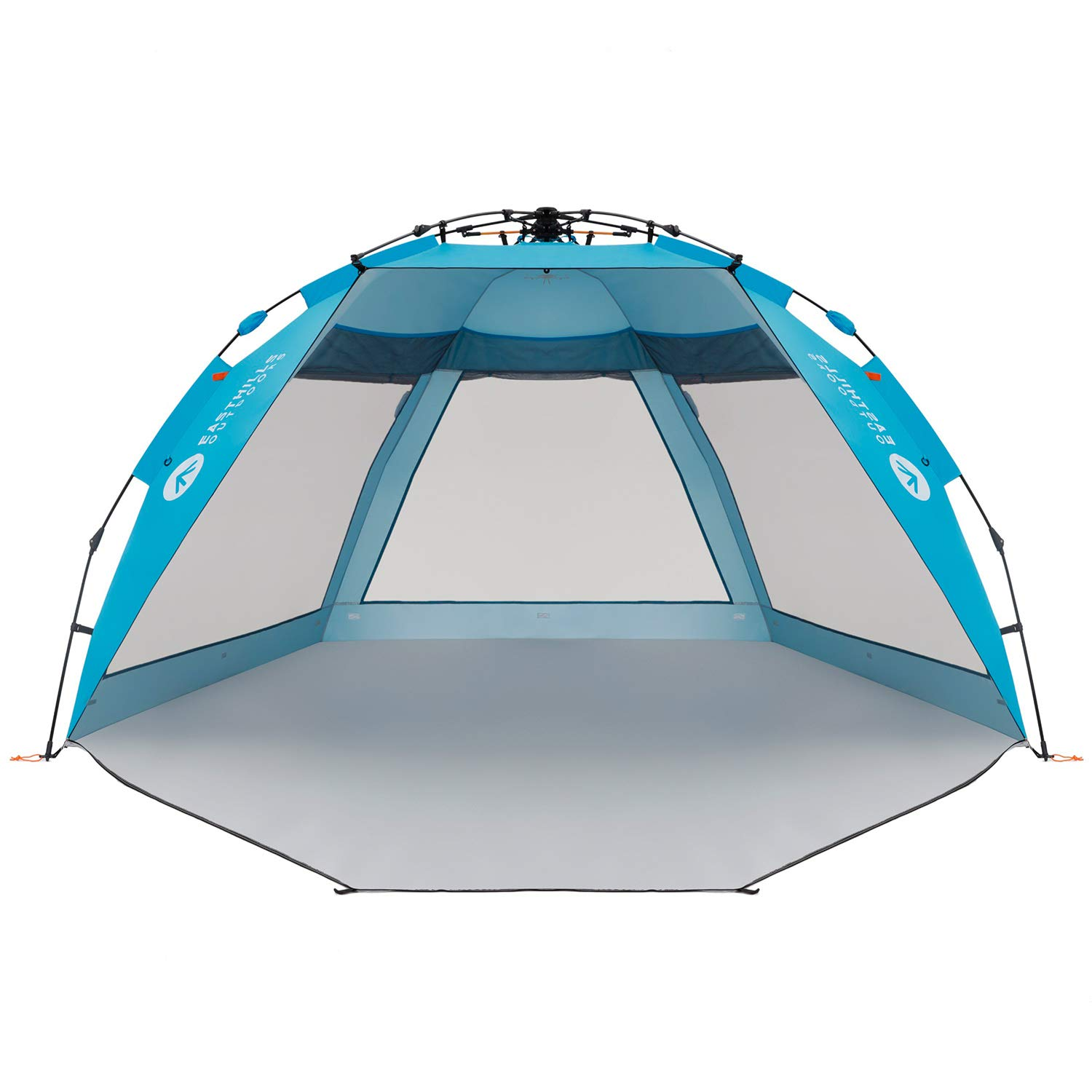Easthills Outdoors Coastview Ultra 4-5 Person Family Sun Shelter Ultra Large Quick Setup Instant Anti UV Double Silver Coating Beach Tent with Extended Door & Window Pacific Blue by Easthills Outdoors