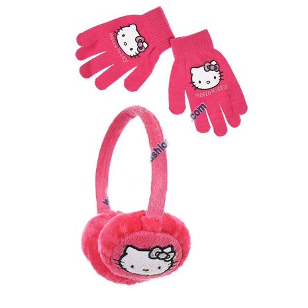 Orejera y guantes para niña de Hello Kitty en color violeta y rosa. Talla única. rosa rosa oscuro Talla:talla única