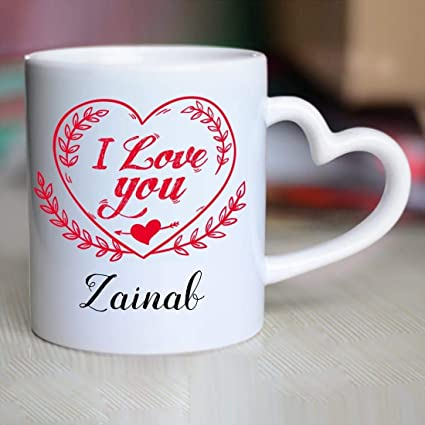 Buy Huppme I Love You Zainab Heart Handle Mug, 350 ml, White