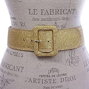 Women's Wide High Waist Glitter Fashion Leather Belt