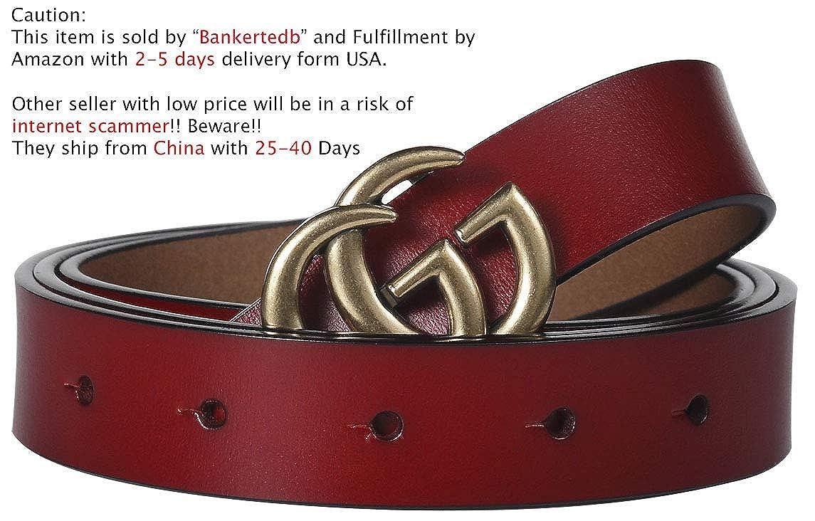 G-Style Gold Buckle Womens Slim Belt ~ 2.5cm Belt Width