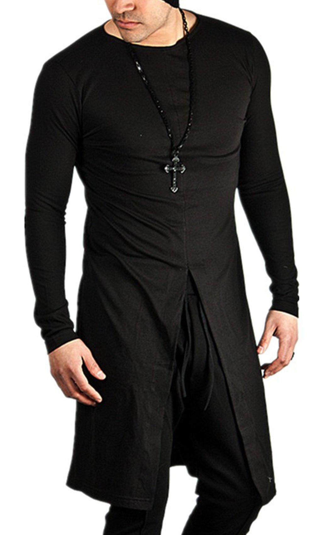 JOKHOO Men's Long Sleeve Slim Fit Long Hem Pullover T-Shirt (Black 1, XL)