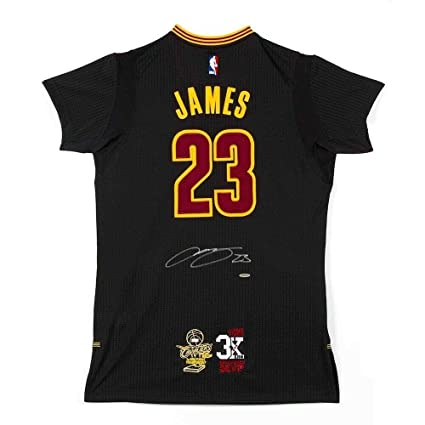 newest 03f55 ad4dc LeBron James Autographed Jersey - Black Finals MVP Patch ...