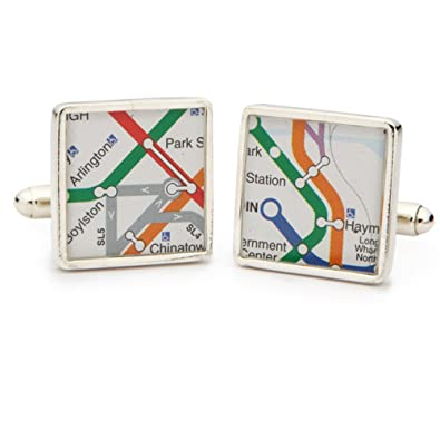 Subway Map Cufflinks.Amazon Com Tokens And Icons Sterling Silver Boston Mbta Subway Map