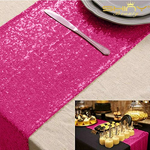 - ShinyBeauty Sequin Wedding Table Runner 13 by 84-Inch Hot Pink