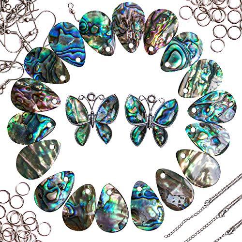 (24 PCS Abalone Seashell Jewelry Making Kit for Women, 24 Paua Shell Pendant w/Earring Hooks, Jump Rings & Chain Necklaces, DIY Sea Shell Pendants for Jewelry Making Adults)