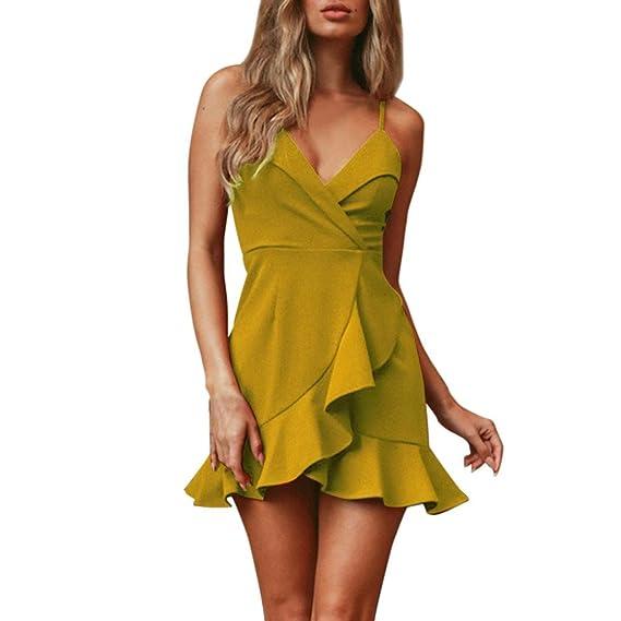 Longra Vestido de noche de gasa de la envoltura pura de verano de las mujeres de