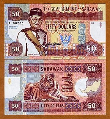 Amazon com: Banknotes Sarawak, Malaysia, 50 dollars 2017, Currency