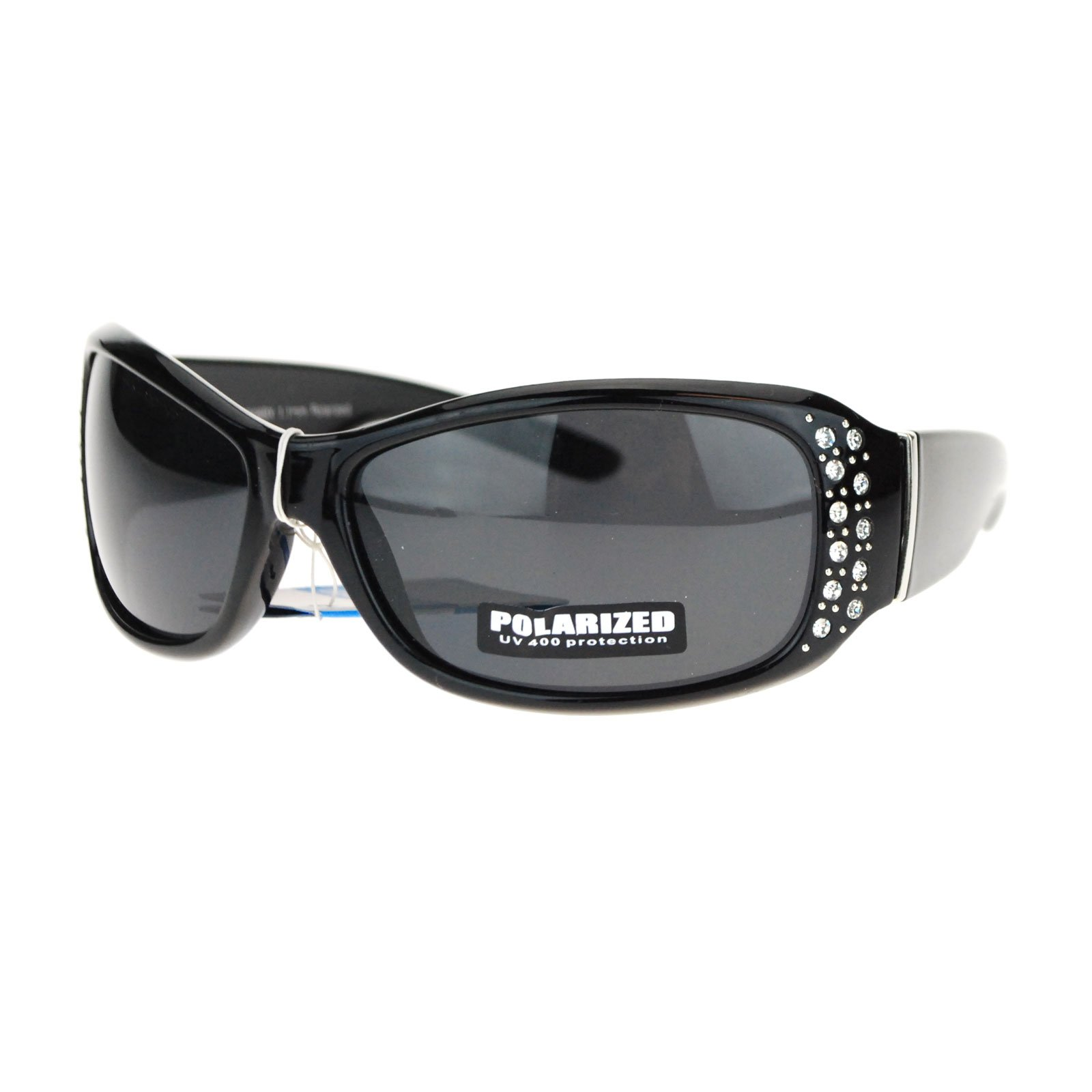 Anti Glare Polarized Womens Rhinestone Oval Rectangular Designer Sunglasses Black