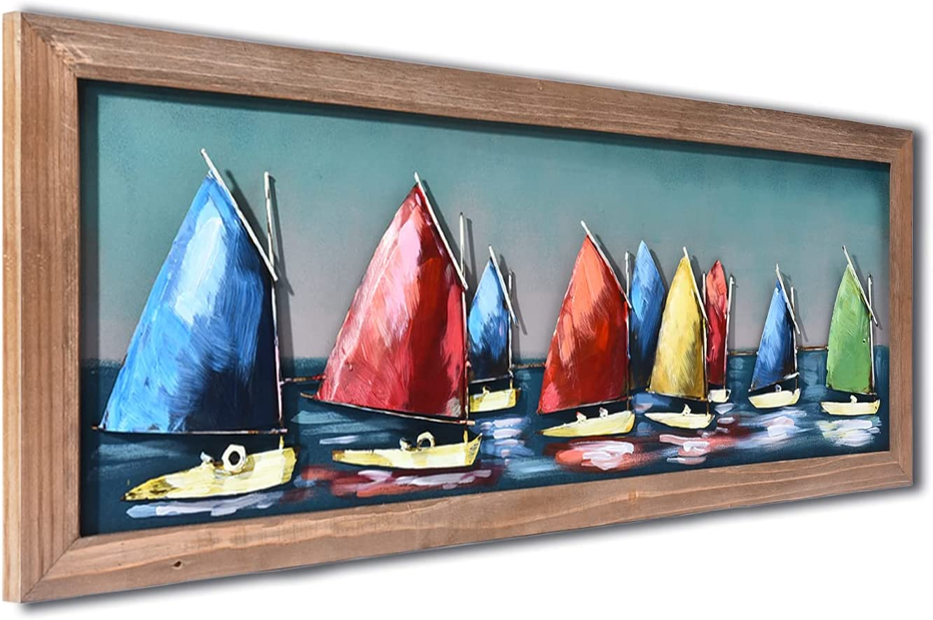SunBlogs Art 3D Metal Wall Art Handmade and Hand-painted Colorful Sailboat Ocean Wall Decor, Coastal Beach Oil Paintings Framed Boat Sculpture Wall Art for Living Room Bedroom Dining Room Kitchen Decorations