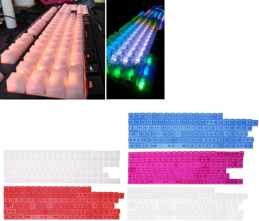 ForHe104 Keys Transparent ABS Blank Keycaps for OEM MX Switches Gaming Keyboard 3 Colors Optional