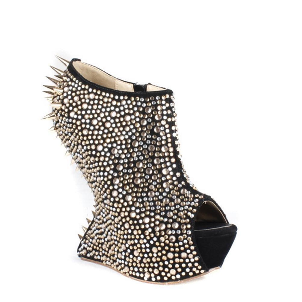 QPYC Frauen Schuhe Geformt Ferse Hot Bohren Spitz Niet Fischmund Stiefel Nachtclub Mode T Bühne Laufsteg Schuhe Einzelne Schuhe