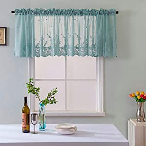 Kimanli Kitchen Curtains, Woven Textured Valance for Bathroom Water Repellent Window Covering Lace Kitchen Curtains