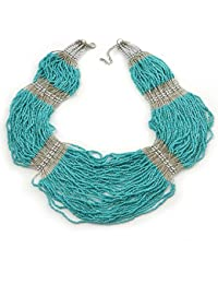 Chunky Turquoise & Transparent Coloured Glass Bead Bib Necklace In Silver Plating - 52cm Length/ 9cm Extension