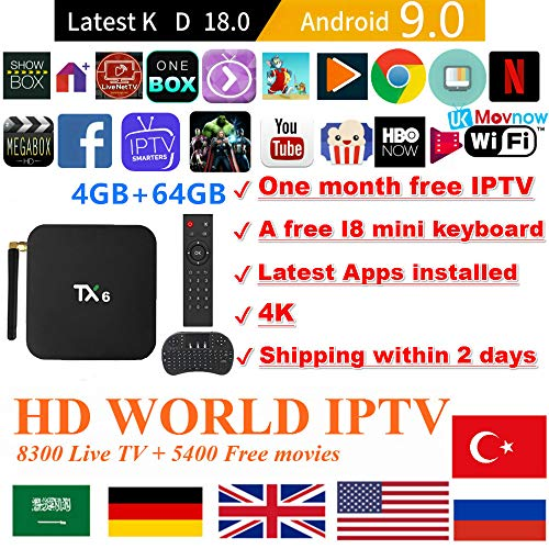 Android TV Box Android 9.0 OS TTV Box Smart TV Box 4GB 64GB TX6 Support USB 3.0 2.4G- 5G Dual-Band Wi-Fi 3D 4K Full HD H.265+1 Month IPTV Subscription+ Mini Wireless Keyboard Remote