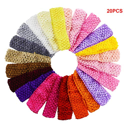 20PCS Fireboomoon Baby Girl Headbands Elastic Crochet Hair Bands Hair Accessories,Boutique Girls Stretch -