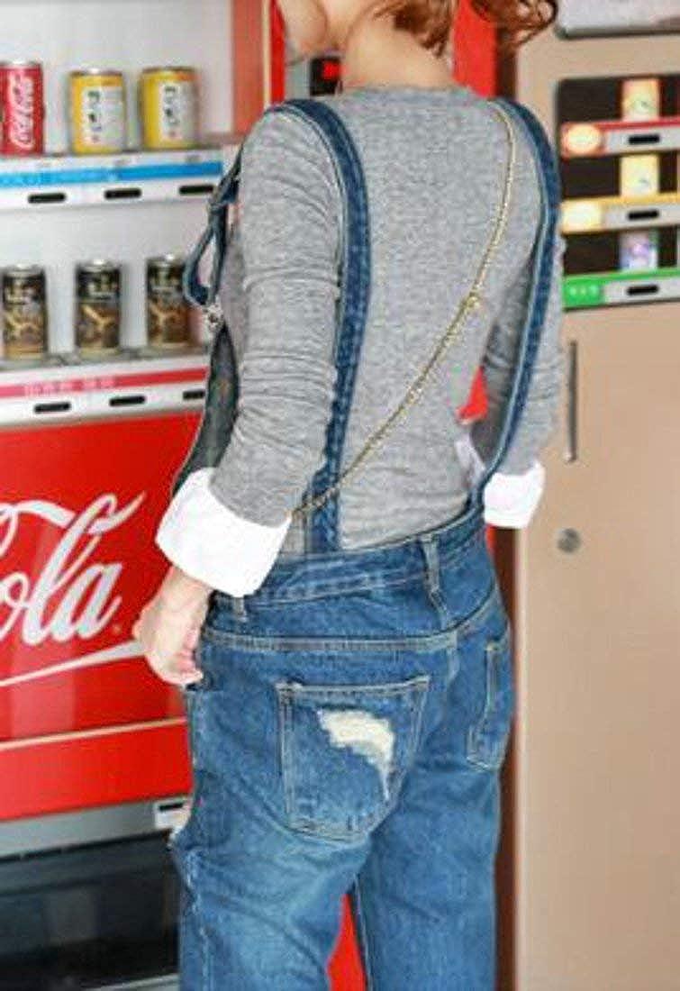Joe Wenko Womens Ripped Hole Jumpsuit Pencil Jeans Slim Denim Casual Bib Overalls